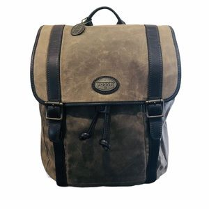 NEW Fossil Waxed Canvas and Leather Backpack